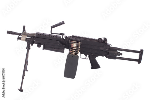 modern us army machine gun isolated on white