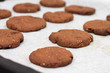 Tray of chocolate chia seed cookies close-up