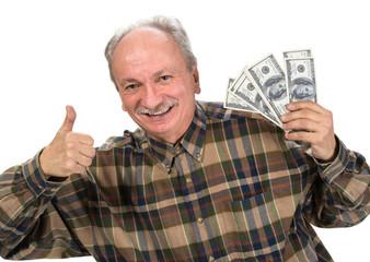 Senior man holding dollar bills
