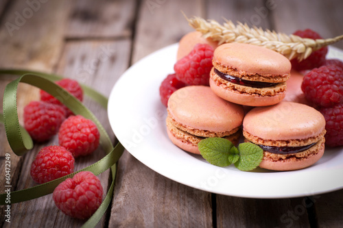 Macarons, Himbeeren