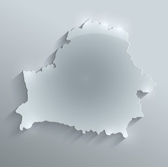 Belarus map glass card paper 3D