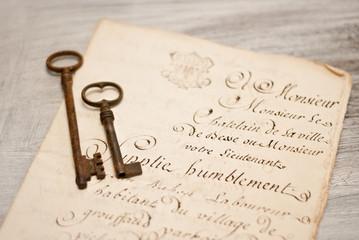 Manoscritto e chiavi