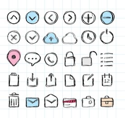 Doodle hand-draw icon set