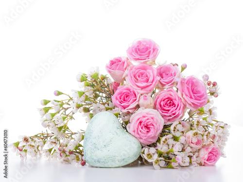 Grußkarte mit Blumen und Herz - 60473010