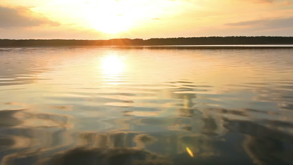Sunset on a calm lake