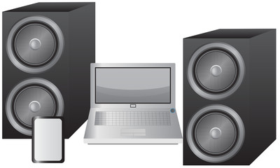 Laptop, Tablet and Speakers