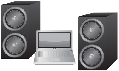 Laptop and Speakers