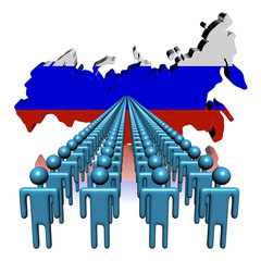 Lines of people with Russia map flag illustration