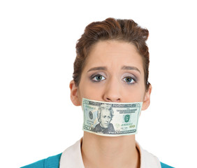 Woman, mouth taped with money, corruption, bribery