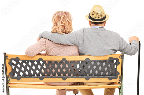 Senior couple sitting on a bench, rear view