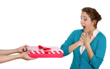Happy, surprised woman accepting great present. Gift idea