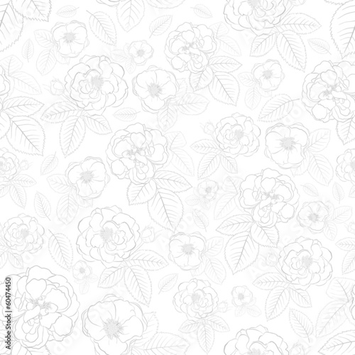 Seamless pattern of flowers, gray on white
