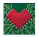 Stylized red heart shape on a circuit board