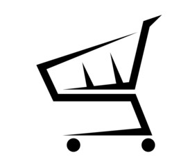 Abstract illustration of a shopping cart on white