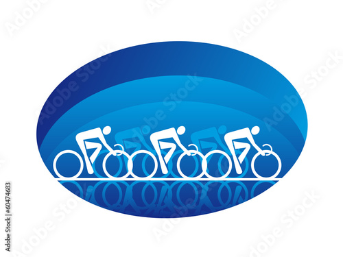 Abstract three racing cyclists, isolated on white