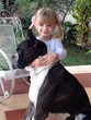 little girl hugging her boxer dog