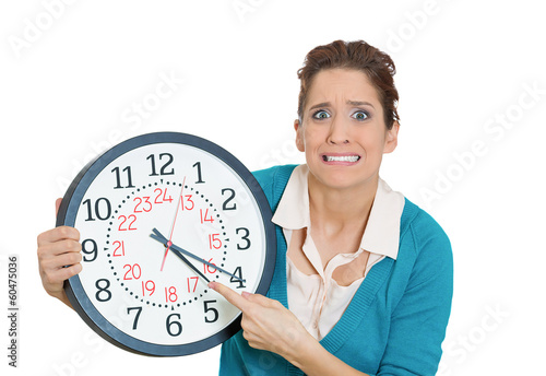 Stressed, anxious woman, student running out of time