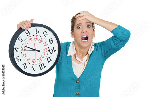 Stressed woman, student running out of time