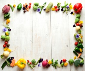 Spring vegetables with edible flowers