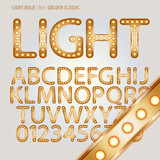 Golden Classic Light Bulb Alphabet and Digit Vector