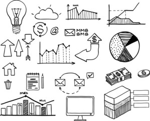 Vector illustration of set of hand drawn business, finance