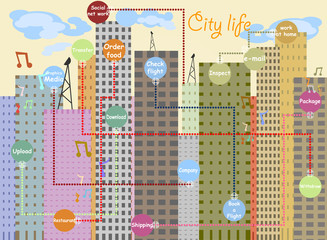 City life with network and communication cartoon background