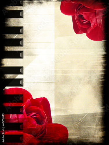 Rose and piano in the vintage style