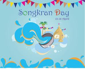 Songkran Day Card-Songkran festival by sand temple