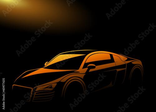 Işıklar altındaki sarı otomobil