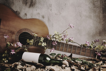 Still life wine bottle with acoustic guitar