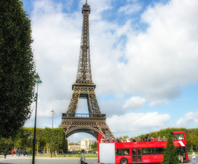 Paris, La Tour Eiffel. Beautiful view of famous tower from Champ