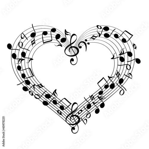music from heart sketch cartoon vector illustration - 60478220
