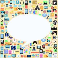 bubble talk with applications graphical user interface flat icon