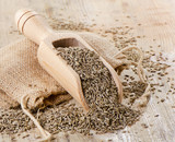 Cumin seeds in wooden scoop