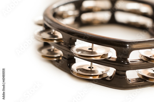 Tambourine closeup on white background