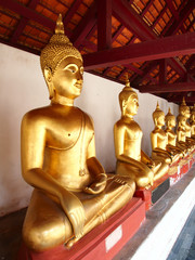 A row of golden buddha statue