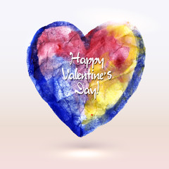 Watercolor painted heart for Valentine`s Day card or background.