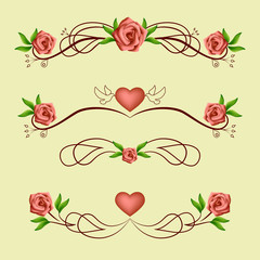 Calligraphic romantic dividers with roses