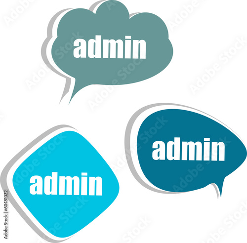 admin words on modern banner design template. stickers