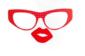 Red glasses and sexy lips