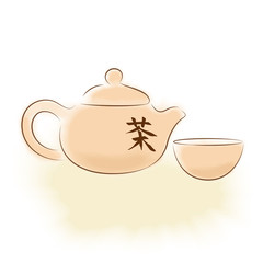 "Traditional oriental teapot with Chinese hieroglyph ""tea"""