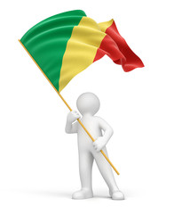 Man and Republic of the Congo flag (clipping path included)