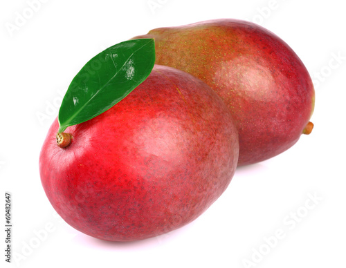Mango with leaf on white