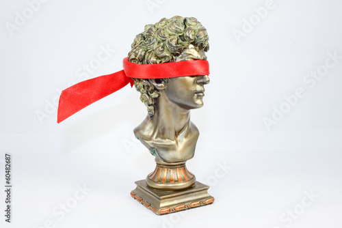 Being blindfolded golden Male Statuettes
