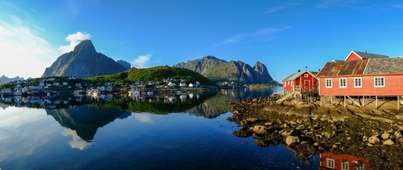 Panoramic view of a Reine village in Norway