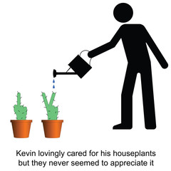 Kevin lovingly cared for his houseplants