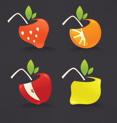 fresh fruits and berries juice concepts, icons, and emblems