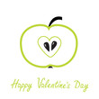Green  apple with heart shape. Happy Valentines Day card.