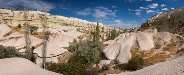 Panoramic view at the beautiful valley in Cappadocia