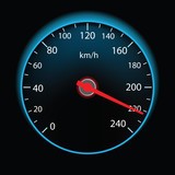 Speedometer on black background (vector)
